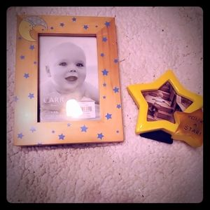 Moon and star picture Frames for nursery. Yellow